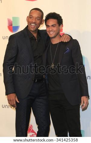 LAS VEGAS - NOV 19:  Will Smith, Trey Smith at the 16th Latin GRAMMY Awards at the MGM Grand Garden Arena on November 19, 2015 in Las Vegas, NV - stock photo