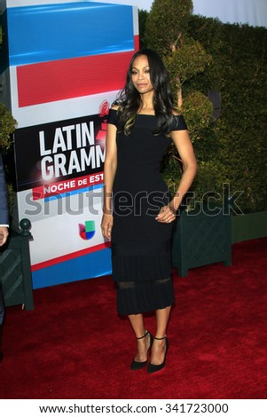 LAS VEGAS - NOV 19:  Zoe Saldana at the 16th Latin GRAMMY Awards at the MGM Grand Garden Arena on November 19, 2015 in Las Vegas, NV - stock photo