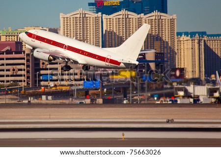 LAS VEGAS - NOVEMBER 15:Boeing 737-200 of Janet airline taking off from KLAS Airport in Las Vegas, NV, USA on November 15, 2010 Janet is a call sign used by planes transporting employees to famous AREA 51