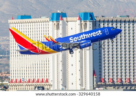 LAS VEGAS - NOVEMBER 3: Boeing 737 Southwest Airlines takes off from McCarran in Las Vegas, NV, USA on November 7, 2014. Southwest is a major US airline and the world's largest low-cost carrier. - stock photo