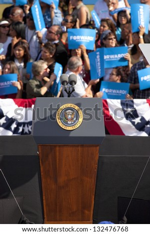 LAS VEGAS - NOVEMBER 01: Empty podium at President Obama`s Campaign Rally at Cheyenne Sports Complex on November 01, 2012 in North Las Vegas, Nevada - stock photo
