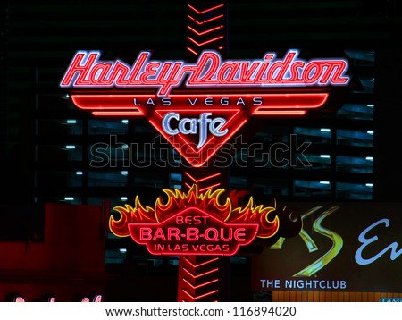 LAS VEGAS - NOVEMBER 30: Harley Davidson Las Vegas Cafe Sign on November 30, 2011 in Las Vegas. The theme of the restaurant is the Harley Davidson Motor Company which was started in 1903. - stock photo