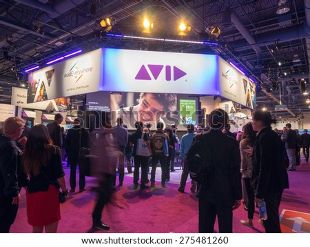 LAS VEGAS, NV - April 15: AVID at NAB Show 2015, an annual trade show by the National Association of Broadcasters.1726 exhibitors on 2,000,000 sq feet space of Las Vegas Convention Center, April 13-16 - stock photo