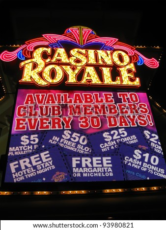LAS VEGAS NV-APRIL 10: Hotel Casino Royale on April 10, 2011 in Las Vegas, USA. Casino Royale is the hotel and casino located on the Las Vegas Strip Boulevard. It was opened in 1979 as Nob Hill. - stock photo