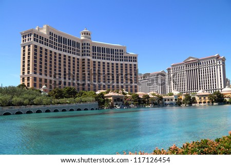 LAS VEGAS NV - APRIL 22: Luxury hotel Bellagio on April 22, 2011 in Las Vegas, USA. Bellagio is the luxury hotel and casino located on the Las Vegas Strip. The Bellagio opened October 15, 1998.