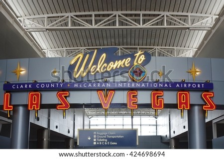 LAS VEGAS, NV -15 APRIL 2016- McCarran International Airport (LAS), located south of the Las Vegas strip, is the main airport in Nevada. There are slot machines in the airport.
