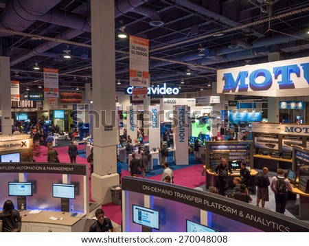 LAS VEGAS, NV - April 15: NAB Show 2015 exhibition in Las Vegas. 1726 technology exhibitors showcased on an a 2,000,000 sq feet space of Las Vegas Convention Center during April 13-16. - stock photo