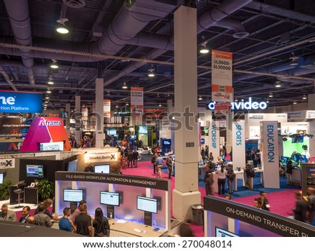 LAS VEGAS, NV - April 15: NAB Show 2015 exhibition. NAB Show is an annual trade show by the National Association of Broadcasters.1726 exhibitors in Las Vegas Convention Center during April 13-16. - stock photo