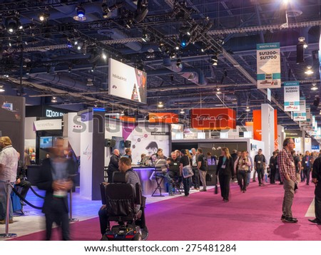 LAS VEGAS, NV - April 15: Oracle at NAB Show 2015, an annual trade show by the National Association of Broadcasters.1726 exhibitors on 2000000 sq feet space of Las Vegas Convention Center, April 13-16 - stock photo