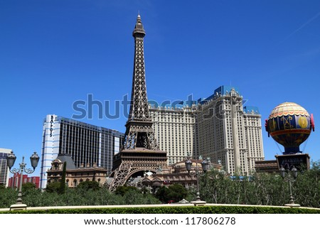 LAS VEGAS, NV - APRIL 22: Paris Las Vegas hotel and casino on April 22, 2011 in Las Vegas, Nevada, USA. It includes a half scale, 541-foot (165 m) tall replica of the Eiffel Tower