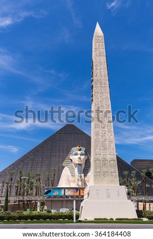 LAS VEGAS, NV - AUGUST 12: View of Luxor Las Vegas hotel and casino on August 12, 2015 in Las Vegas, USA. Luxor Las Vegas is located on the famous Las Vegas Strip.