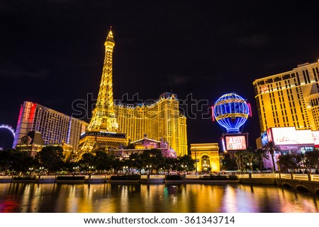 LAS VEGAS, NV - AUGUST 12: View of the Paris Las Vegas hotel and casino at night on August 11, 2015 in Las Vegas, USA. Located on the Las Vegas Strip, its theme is the city of Paris, France. - stock photo