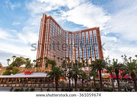 LAS VEGAS, NV - AUGUST 11: View of the Treasure Island Hotel and Casino on August 11, 2015 in Las Vegas, USA. The Treasure Island is an hotel and casino located on the Las Vegas Strip, opened in 1993. - stock photo