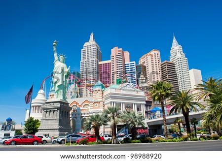 LAS VEGAS NV - CIRCA APRIL 2011: New York - New York Hotel & Casino circa April, 2011 in Las Vegas, Nevada, USA. New York New York is a luxury hotel and casino located on the Las Vegas Strip - stock photo