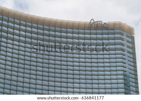 Las Vegas, NV - Circa 2017: Aria luxury hotel and casino on the strip in Paradise Nevada. Technology for reduced energy consumption in smart rooms. Technologically advanced hotel