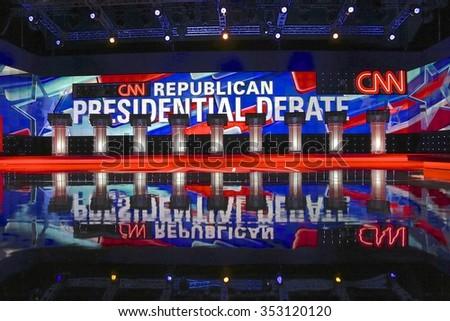 LAS VEGAS, NV, Dec 15, 2015, Empty Podiums at the CNN Republican presidential debate at The Venetian Resort and Casino, Las Vegas, NV - stock photo
