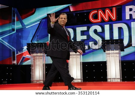 LAS VEGAS, NV, Dec 15, 2015, New Jersey Gov. Chris Christie, a Republicans and 2016 presidential candidate, waves on stage at the start of the Republican presidential candidate debate at The Venetian. - stock photo