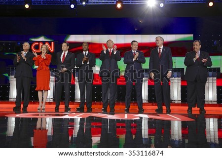 LAS VEGAS, NV - DECEMBER 15: Republican presidential candidates (L-R) John Kasich, Carly Fiorina, Sen. Marco Rubio, Ben Carson, Donald Trump, Sen. Ted Cruz, Jeb Bush, Chris Christie - stock photo