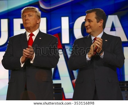 LAS VEGAS, NV - DECEMBER 15: Republican presidential candidates US Senator Ted Cruz and Donald J. Trump clap at CNN republican presidential debate at The Venetian, December 15, 2015, Las Vegas, Nevada - stock photo