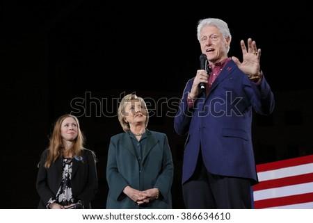 LAS VEGAS, NV - FEBRUARY 19: (L-R) Chelsea Clinton, Democratic presidential candidate former Secretary of State Hillary Clinton and President Bill Clinton February 19, 2016 in Las Vegas, NV. - stock photo