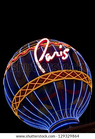 LAS VEGAS, NV - FEBRUARY 17:  Replica of Montgolfier balloon serves as a beacon for the Paris Las Vegas Hotel & Casino days before fatal shooting of rap artist on February 17, 2013 in Las Vegas, NV - stock photo