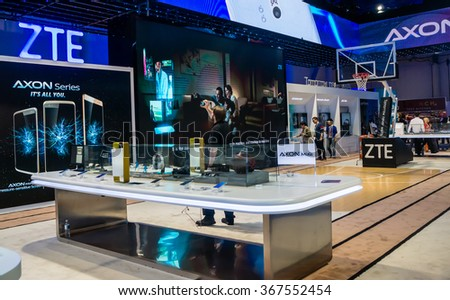 Las Vegas, NV, Jan. 9, 2016:  ZTE Corporation promotes its Axon series at a trade show exhibit at the 2016 Consumer Electronics Show (CES).