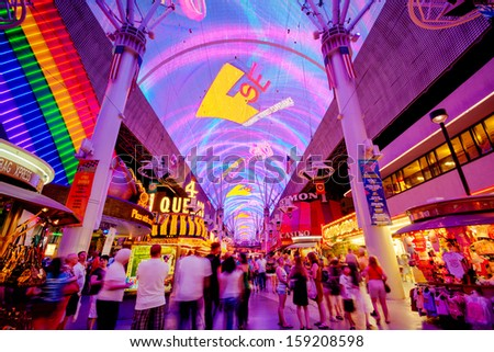 LAS VEGAS, NV - JULY 02, 2011: Fremont street experience in Downtown Las Vegas on July 02, 2011. It offers free nightly shows featuring 12.5 million lights and 550,000 watts of sound. - stock photo