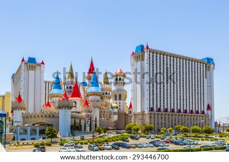 LAS VEGAS, NV - JUNE 15, 2012: Excalibur Hotel and Casino in Las Vegas, Nevada. Its owner - MGM Resorts reported strong net revenue gain of 43 percent to $2.23 billion in third quarter 2011 - stock photo