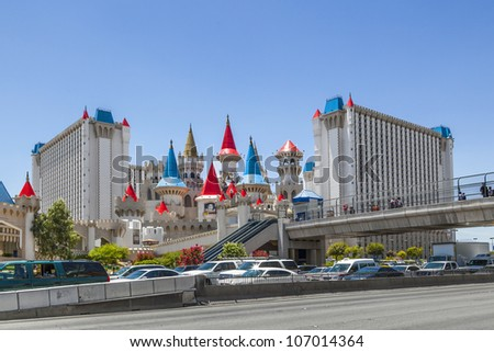 LAS VEGAS, NV - JUNE 15: Excalibur Hotel and Casino on June 15, 2012 in Las Vegas, Nevada. Its owner - MGM Resorts reported strong net revenue gain of 43% to $2.23 billion in third quarter 2011