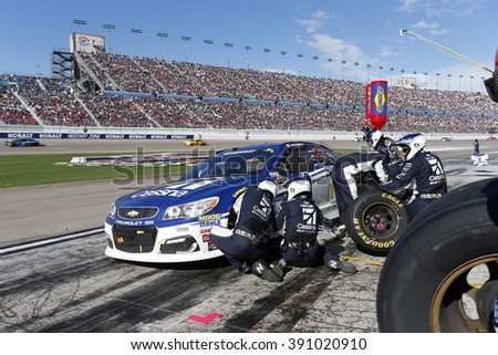 Las Vegas, NV - Mar 06, 2016: Jamie McMurray (1) brings his race car in for service during the Kobalt 400 at the Las Vegas Motor Speedway in Las Vegas, NV.