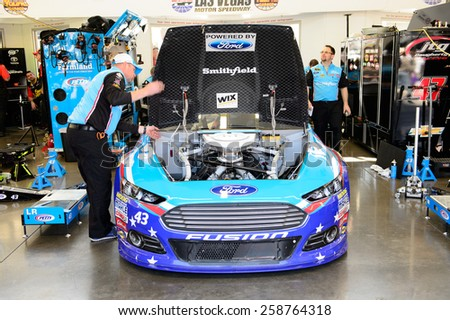 LAS VEGAS, NV - March 07: Aric Almirola's car in the garage at the NASCAR Sprint Kobalt 400 practice at Las Vegas Motor Speedway in Las Vegas on March 07, 2015 - stock photo