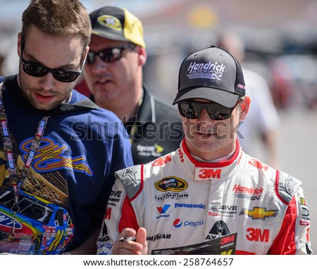 LAS VEGAS, NV - March 07: Jeff Gordon at the NASCAR Sprint Kobalt 400 practice at Las Vegas Motor Speedway in Las Vegas on March 07, 2015