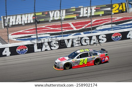 LAS VEGAS, NV - March 08: Jeff Gordon at the NASCAR Sprint Kobalt 400 race at Las Vegas Motor Speedway on March 08, 2015 - stock photo