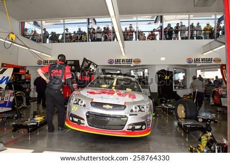 LAS VEGAS, NV - March 07: Jeff Gordon's car in the garage at the NASCAR Sprint Kobalt 400 practice at Las Vegas Motor Speedway in Las Vegas on March 07, 2015 - stock photo