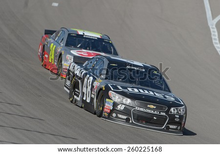 LAS VEGAS, NV - March 08: Jimmie Johnson (48) and Jeff Gordon (24) at the NASCAR Sprint Kobalt 400 race at Las Vegas Motor Speedway on March 08, 2015 - stock photo