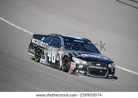 LAS VEGAS, NV - March 08: Jimmie Johnson at the NASCAR Sprint Kobalt 400 race at Las Vegas Motor Speedway on March 08, 2015 - stock photo