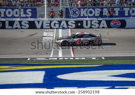 LAS VEGAS, NV - March 08: Kevin Harvick wins the NASCAR Sprint Kobalt 400 race at Las Vegas Motor Speedway on March 08, 2015 - stock photo