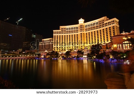 LAS VEGAS, NV - MARCH 30: Visitors enjoy a fantastic view of the lagoon at the Bellagio in Las Vegas Nevada on March 30, 2009 - stock photo