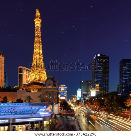 LAS VEGAS, NV - MARCH 26: World famous Vegas Strip in Las Vegas, Nevada at night on March 26, 2015. The Las Vegas Strip is home to the largest hotels and casinos in the world.