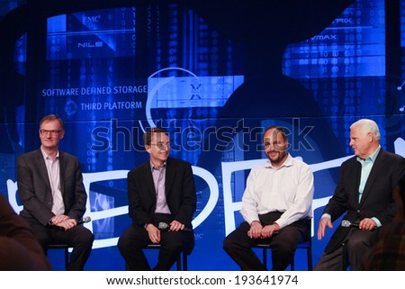 LAS VEGAS, NV -?? MAY 6, 2014: David Goulden, Pat Gelsinger, Paul Maritz and Joe Tucci (left to right) announce federation business model at EMC World 2014 conference on May 6, 2014 in Las Vegas, NV  - stock photo
