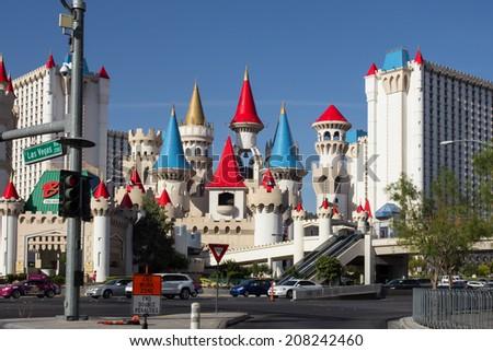 LAS VEGAS, NV - MAY 8, 2014:   Las Vegas Boulevard with landmark Excalibur Hotel and Casino in view.  - stock photo