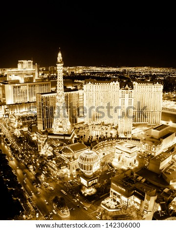 LAS VEGAS, NV - MAY 7: World famous Vegas Strip in Las Vegas, Nevada as seen at night on May 7, 2012. Stretching 4.2 miles, the Strip is home to the largest hotels and casinos in the world. - stock photo