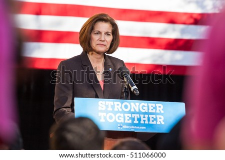 LAS VEGAS, NV - November 6, 2016: Catherine Cortez Masto Smiling Campaigns For Democratic Party at CSN.