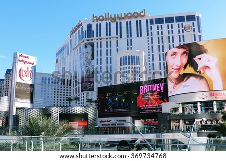 LAS VEGAS, NV - OCT 29: Las Vegas Strip view in Nevada, as seen on Oct 29, 2015. The Las Vegas Strip is an approximately 4.2-mile stretch of Las Vegas Boulevard South in Clark County, Nevada. - stock photo