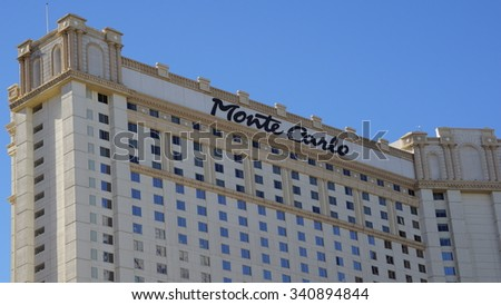 LAS VEGAS, NV - OCT 30: Monte Carlo Hotel & Casino in Las Vegas, Nevada, as seen on Oct 30, 2015. The Monte Carlo opened to the public on June 21, 1996 and cost US$344 million to build. - stock photo