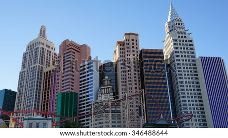 LAS VEGAS, NV - OCT 30: New York New York hotel-casino creating the impressive New York City skyline with skyscrapers and Statue of Liberty in Las Vegas, Nevada, as seen on Oct 30, 2015. - stock photo
