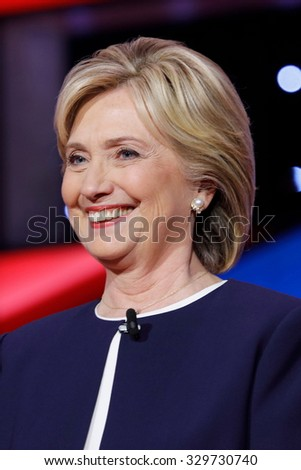 LAS VEGAS, NV - OCTOBER 13 2015: (L-R) Democratic presidential debate features candidate former Secretary of State and U.S. Senator Hillary Clinton at Wynn Las Vegas in first CNN Democratic Debate.  - stock photo