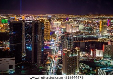 LAS VEGAS, NV - OCTOBER 22: Las Vegas Strip in Las Vegas, Nevada as seen at night on October 22, 2016.