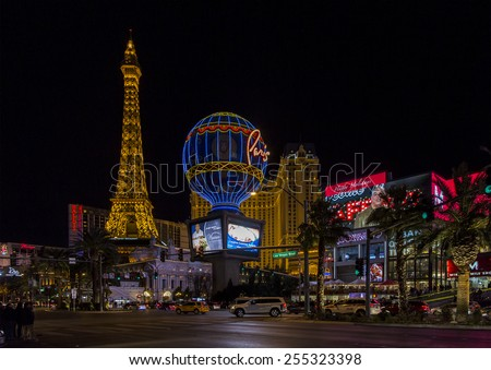 LAS VEGAS NV/USA - DECEMBER 24:  The Las Vegas Strip on Christmas Eve with Paris Las Vegas Hotel and Casino. December 24, 2014 in Las Vegas, NV, USA.