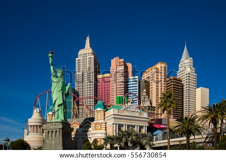 Las Vegas, NV, USA - Jan 6, 2017: Famous New York New York casino-hotel on Jan 6, 2017 in Las Vegas . The hotel recreates the famous New York skyline.